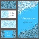 Grupo de cartões azuis para o convite ou o negócio Fotografia de Stock