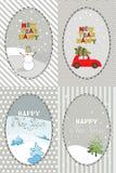 Grupo de 4 cartões com cumprimento do ano novo Imagem de Stock Royalty Free
