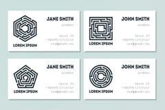 Grupo de cartões com labirinto Foto de Stock Royalty Free