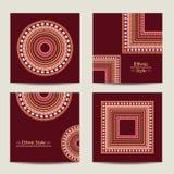 Grupo de cartões com projeto étnico geométrico Fotografia de Stock Royalty Free