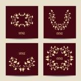 Grupo de cartões com projeto do vintage floral Imagens de Stock Royalty Free