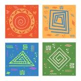 Grupo de cartões com teste padrão abstrato geométrico Fotografia de Stock Royalty Free