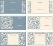 Grupo de cartões com teste padrão do victorian ilustração stock