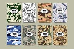 Grupo de cartões criativos com Camo, testes padrões do vintage da camuflagem Foto de Stock