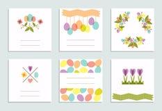 Grupo de cartões criativos da cor pastel da Páscoa Imagem de Stock