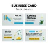 Grupo de cartões da empresa da limpeza Fotografia de Stock Royalty Free