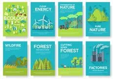 Grupo de cartões da informação da ecologia Molde ecológico de flyear, compartimentos, cartazes, capa do livro, bandeiras Eco info ilustração do vetor