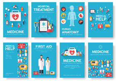 Grupo de cartões da informação da medicina Molde médico de flyear, compartimentos, cartazes, capa do livro Conceito infographic c Fotos de Stock Royalty Free