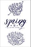 Grupo de 3 cartões da mola da rotulação da escova Fotografia de Stock Royalty Free