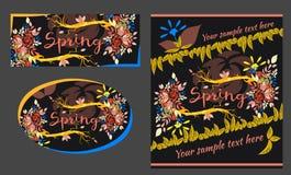 Grupo de cartões da mola e do verão Fotos de Stock Royalty Free