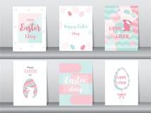 Grupo de cartões da Páscoa, molde, coelhos, ovos, ilustrações do vetor Imagem de Stock Royalty Free