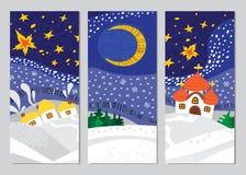 Grupo de cartões da paisagem da noite de Natal Fotos de Stock Royalty Free