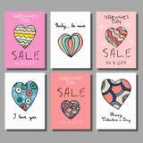 Grupo de cartões da venda com oferta do disconto para a celebração feliz do dia do ` s do Valentim Foto de Stock Royalty Free