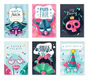 Grupo de cartões das coisas do carnaval ilustração royalty free