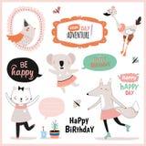 Grupo de cartões de aniversário, etiquetas do presente, etiquetas Imagem de Stock Royalty Free