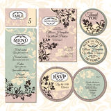 Grupo de cartões de casamento florais Fotos de Stock Royalty Free