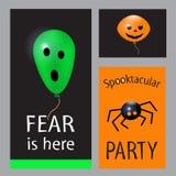 Grupo de cartões de Dia das Bruxas Partido de Spooktacular Ilustração lisa do vetor do projeto Fotografia de Stock Royalty Free