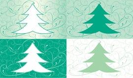 Grupo de cartões de Natal com abeto Imagem de Stock