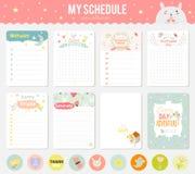 Grupo de cartões, de notas e de etiquetas com bonito Imagem de Stock Royalty Free