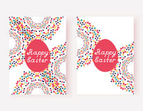 Grupo de cartões de Páscoa felizes Ilustração do vetor Imagens de Stock