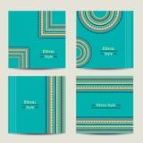 Grupo de cartões de turquesa com projeto étnico Foto de Stock