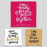 Grupo de cartões do amor da caligrafia da escova Fotografia de Stock