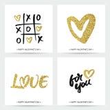 Grupo de cartões do amor para o dia ou o casamento de Valentim Fotos de Stock