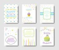 Grupo de cartões do aniversário ilustração stock