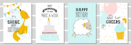 Grupo de cartões do aniversário e de moldes do convite do partido com raposa bonito, carneiros e bolo Ilustração do vetor ilustração stock