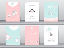 Grupo de cartões do convite da festa do bebê, cartões de aniversário, cartaz, molde, cartões, animais, bonitos, pássaros, ilustra Imagens de Stock Royalty Free