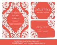 Grupo de cartões do convite do casamento com pintura tailandesa ilustração stock
