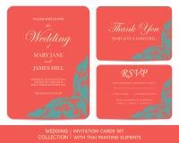 Grupo de cartões do convite do casamento com pintura tailandesa ilustração do vetor