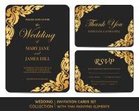 Grupo de cartões do convite do casamento com pintura tailandesa ilustração royalty free