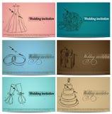 Grupo de cartões do convite do casamento do vintage. Ilustração Royalty Free