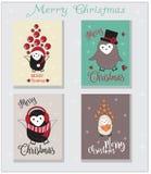 Grupo de cartões do corte do Feliz Natal, cartão do fundo Imagem de Stock Royalty Free