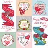 Grupo de cartões do dia de mães Etiquetas, elementos da decoração Fotos de Stock Royalty Free