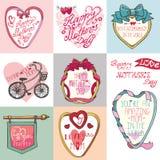 Grupo de cartões do dia de mães Quadros, elementos da decoração Foto de Stock