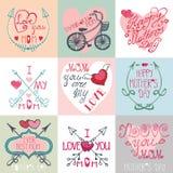 Grupo de cartões do dia de mães Setas, elementos da decoração Fotos de Stock Royalty Free