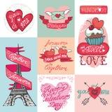 Grupo de cartões do dia de Valentim Fotos de Stock Royalty Free