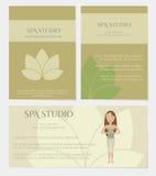 Grupo de cartões do estúdio dos termas Ilustração Royalty Free
