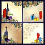 Grupo de cartões do feriado com as caixas de presente com curvas Imagens de Stock