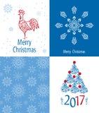 Grupo de cartões 2017 do Natal Imagens de Stock Royalty Free