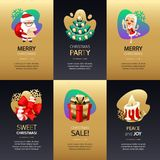 Grupo de cartões do Natal com ouro e obscuridade ilustração stock