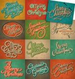 Grupo de cartões do Natal do vintage Imagem de Stock Royalty Free