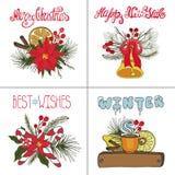 Grupo de cartões do Natal Doodles do ano novo ilustração do vetor