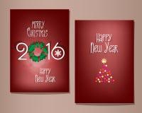Grupo de cartões do Natal e do ano novo feliz ilustração do vetor