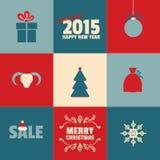 Grupo de cartões do Natal retro e do ano novo no azul Imagens de Stock