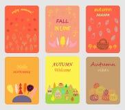 Grupo de cartões do outono Projete para o cartaz, cartão, convite, cartaz, folheto, inseto Moldes do vetor ilustração royalty free