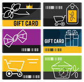 Grupo de cartões do presente e da compra Fotos de Stock