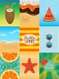 Grupo de cartões do verão Fotos de Stock